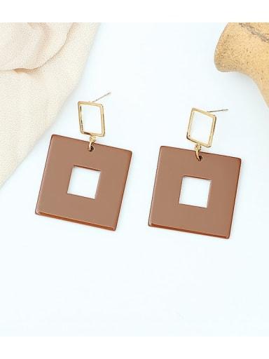 Coffee color Copper Acrylic Geometric Minimalist Drop Earring