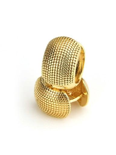 Large Brass Round Minimalist Huggie Earring