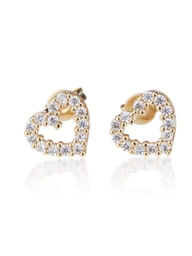 White zirconium Brass Rhinestone  Hollow Heart Dainty Stud Earring