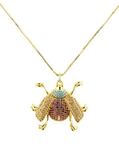 gold-plated Brass Cubic Zirconia Insect Cute Necklace