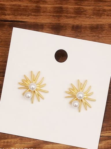 Copper Imitation Pearl Flower Minimalist Stud Earring