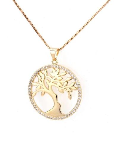 Brass Cubic Zirconia Tree Dainty Initials Necklace
