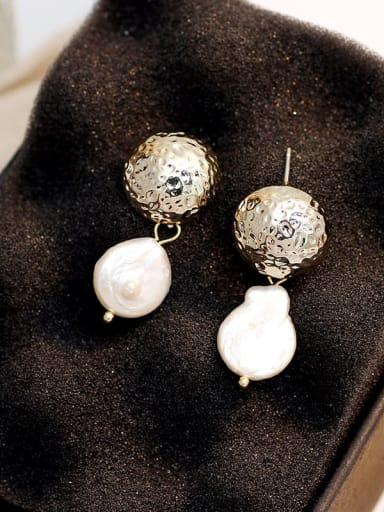 14k gold Copper Freshwater Pearl Geometric Vintage Drop Earring