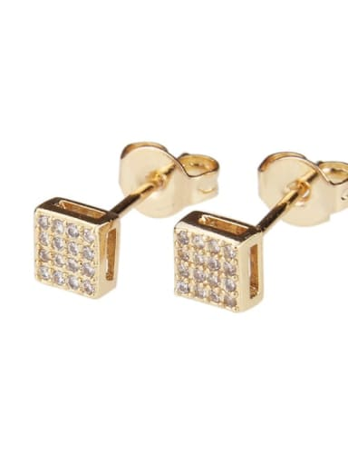 White zirconium Brass Rhinestone Square Dainty Stud Earring