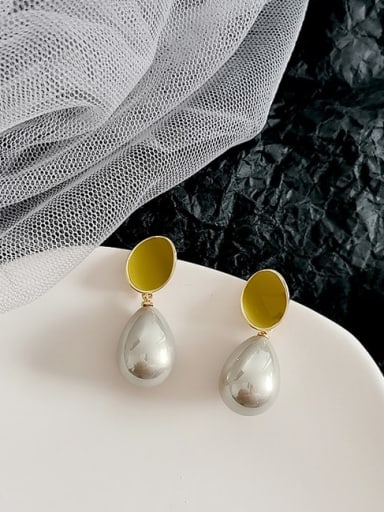 14K  gold, yellow and green Copper Imitation Pearl Water Drop Minimalist Drop Earring