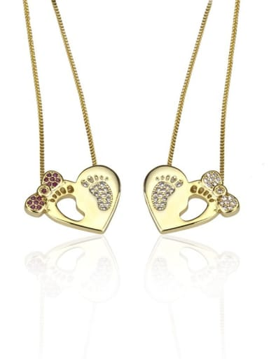 Brass Cubic Zirconia Foot Dainty Necklace