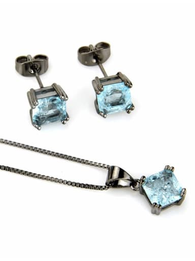 Black plated Blue Zircon Brass Square Cubic Zirconia Earring and Necklace Set