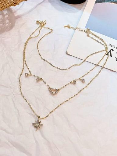 Zinc Alloy Rhinestone White Star Classic Multi Strand Necklace