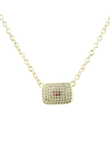 Copper Cubic Zirconia Rectangle Dainty Necklace