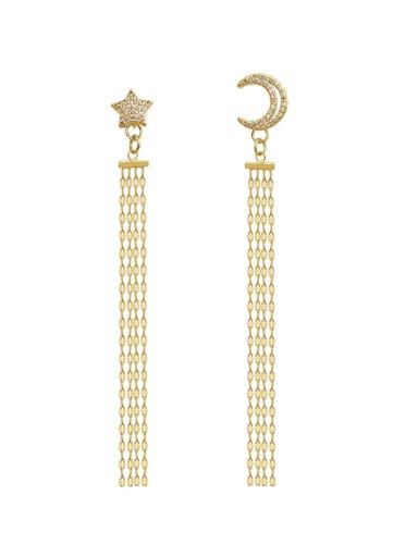 Copper  Moon Star  Tassel Vintage Threader Earring