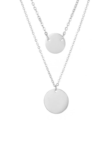 Steel color Stainless steel Round Dainty Multi Strand Necklace