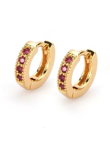 Gold Plated Red zircon Brass Cubic Zirconia Round Minimalist Hoop Earring