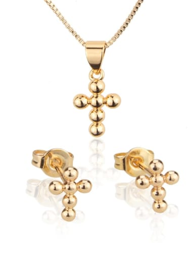Brass Cross  Earring and Necklace Set