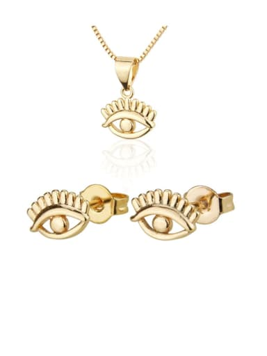 Brass  Vintage Evil Eye Earring and Necklace Set