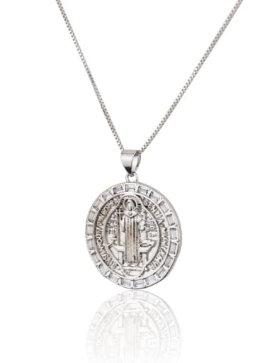 Platinum plating Brass Cubic Zirconia Round Minimalist Initials Necklace