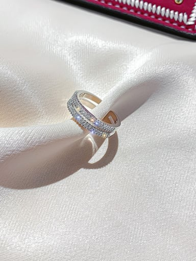 2 # Alloy Cubic Zirconia White Star Dainty Cocktail Ring