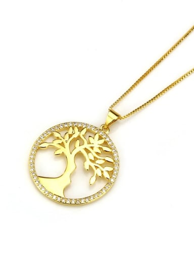Brass  Hollow Round Minimalist tree Pendant Necklace