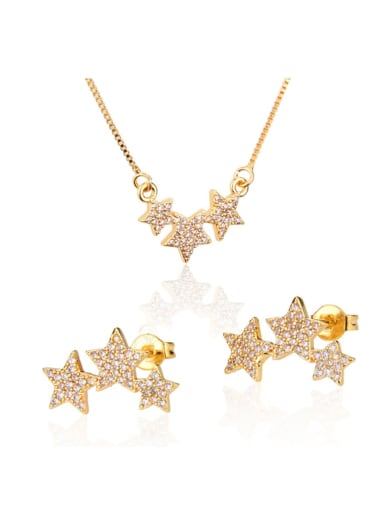 Brass Star Cubic Zirconia Earring and Necklace Set