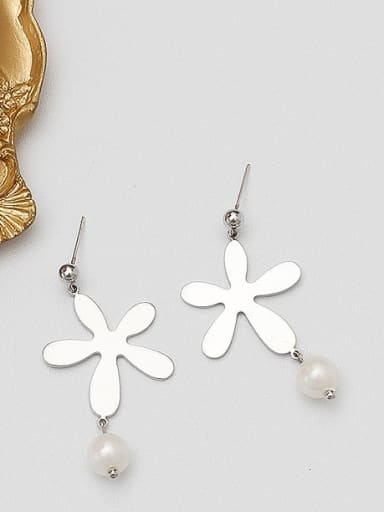 White K Copper Imitation Pearl Geometric Minimalist Stud Earring