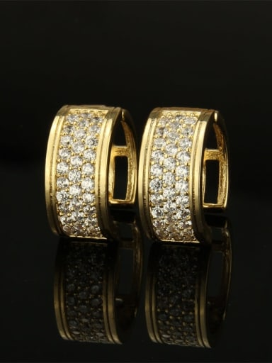 Gold plating Brass Cubic Zirconia Round Vintage Huggie Earring