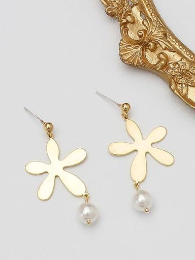 14K  gold Copper Imitation Pearl Geometric Minimalist Stud Earring