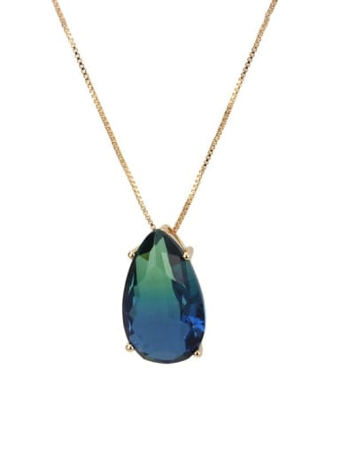 Gold Plated green blue gradient Brass Cubic Zirconia Water Drop Luxury Necklace