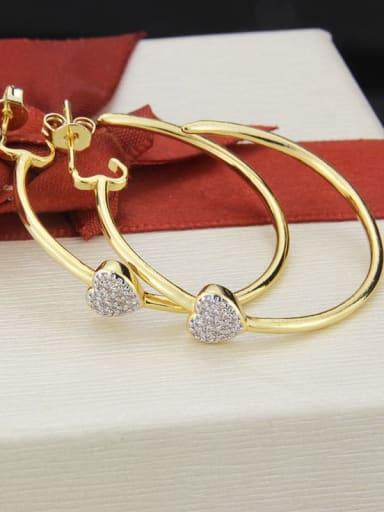 Brass Cubic Zirconia Heart Minimalist Hoop Earring