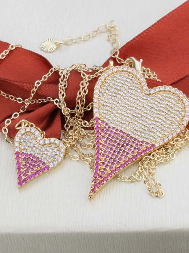 Gold plated color matching Brass Cubic Zirconia Heart Luxury Multi Strand Necklace