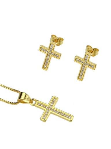 gold-plated Brass Cubic Zirconia Cross Dainty Initials Necklace
