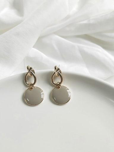14K  gold grey Copper Enamel Round Minimalist Drop Earring