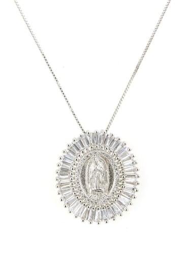Platinum plating Brass Cubic Zirconia Religious Ethnic Regligious Necklace