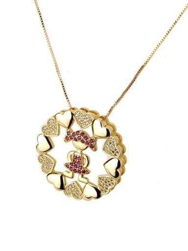 Red zirconium girl Brass Cubic Zirconia Heart Dainty Necklace