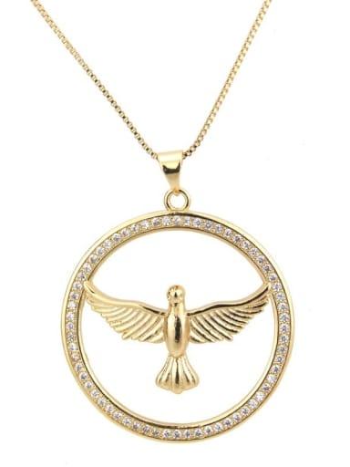 Brass Cubic Zirconia Bird Vintage Regligious Necklace