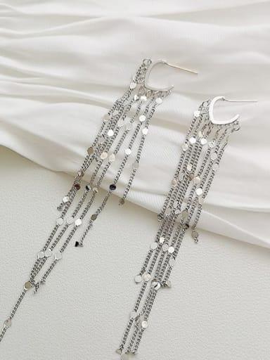 White K Copper Tassel Dainty Threader Earring