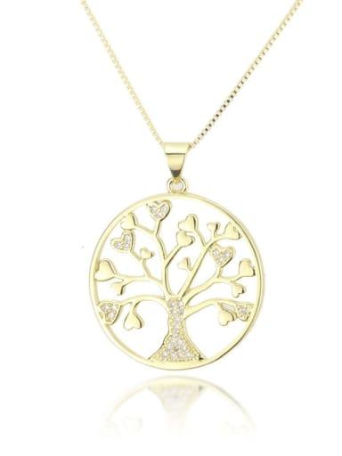Brass Cubic Zirconia Classic Round Tree Pendant necklace