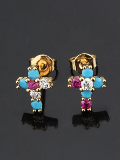 Brass Cubic Zirconia Cross Vintage Stud Earring