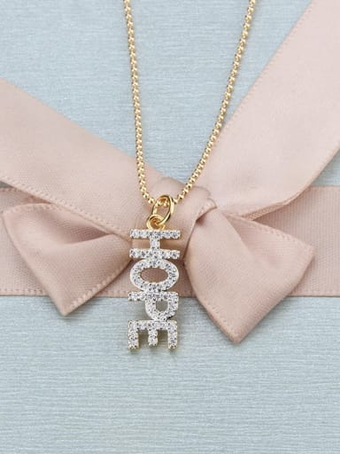 gold-plated Brass Cubic Zirconia Letter Dainty Necklace
