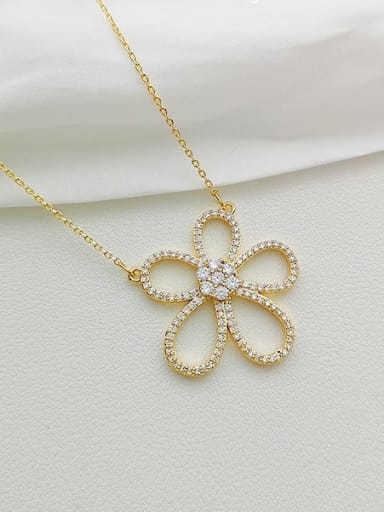 Copper Cubic Zirconia Flower Dainty Necklace