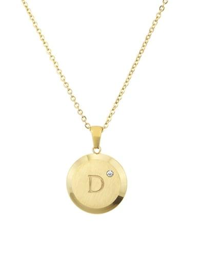 D Titanium Rhinestone 26 Letter Minimalist Initials Necklace