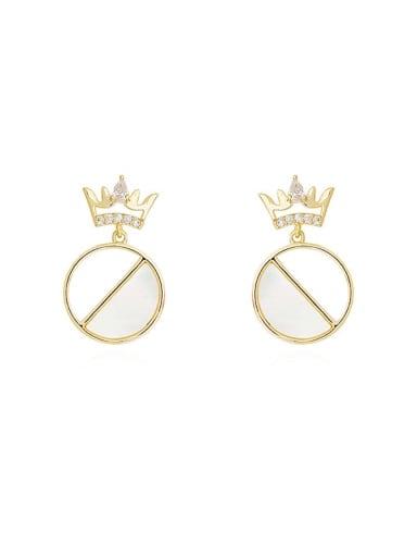Copper Shell Crown Minimalist Drop Earring