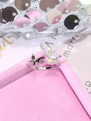 silvery Alloy+ Rhinestone White Butterfly Trend Ring/Free Size Ring