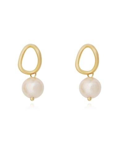 Copper Freshwater Pearl Geometric Minimalist Huggie Earring