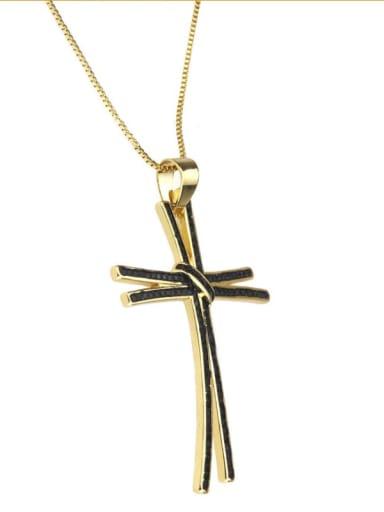 Gold Plated Black zirconium Brass Rhinestone Cross Dainty Regligious Necklace