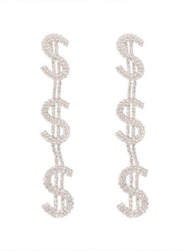 Alloy Rhinestone Letter Luxury Drop Earring