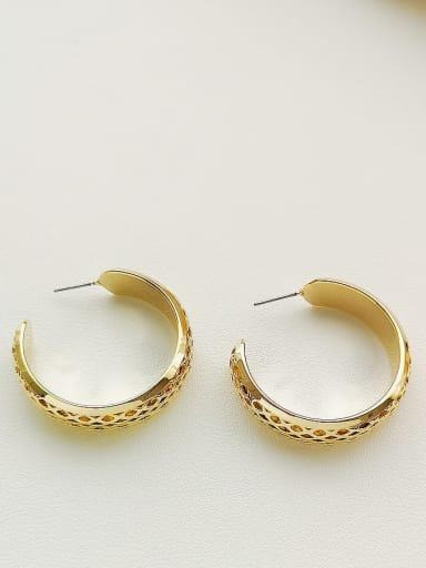 14K  gold Copper Round Minimalist Hoop Earring
