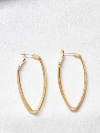 Dumb gold Copper Hollow Geometric Minimalist Drop Earring