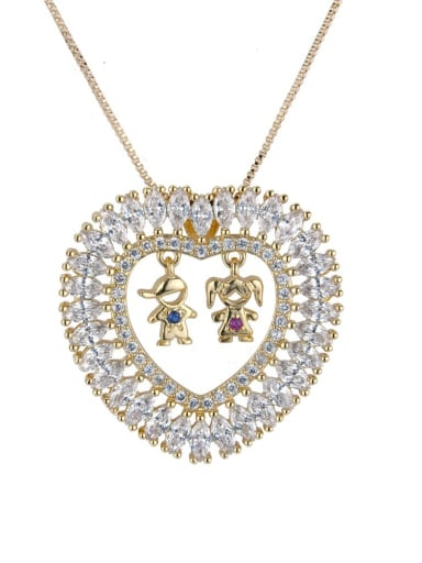 Brass Cubic Zirconia Heart Dainty  Pendant Necklace
