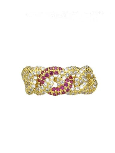 gold-plated Brass Cubic Zirconia Irregular Vintage Band Ring