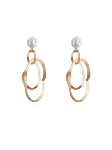 Copper  Hollow Geometric Minimalist Drop Earring