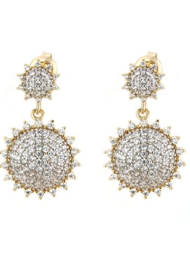 Gold plated white Brass Cubic Zirconia Irregular Luxury Drop Earring